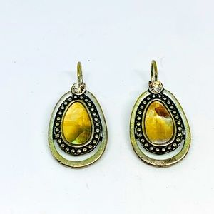 """Jewelry - Silver Clip gold tone Abalone inlay earrings 1"""""""